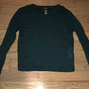 FOREVER 21 CROPPED THERMAL LONG SLEEVE TOP